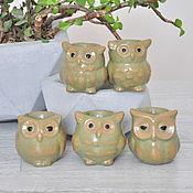 Цветы и флористика handmade. Livemaster - original item Mini pot cactus Owl of concrete, creative pots for plants. Handmade.