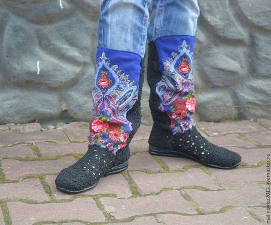 """Обувь ручной работы. Ярмарка Мастеров - ручная работа. Купить сапожки вязаные """"Светлана"""". Handmade. Черный, вискоза"""