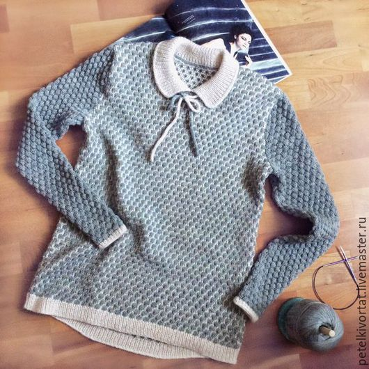 Кофты и свитера ручной работы. Ярмарка Мастеров - ручная работа. Купить Вязаный пуловер с воротником и бантиком. Handmade. Пуловер вязаный