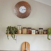 """Часы классические ручной работы. Ярмарка Мастеров - ручная работа Часы настенные """"Медное Солнце"""", белый циферблат. Handmade."""