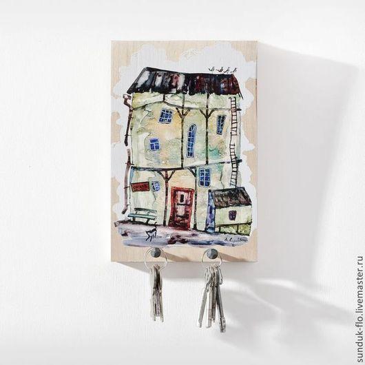 Прихожая ручной работы. Ярмарка Мастеров - ручная работа. Купить Настенная ключница Маленький домик. Handmade. Разноцветный