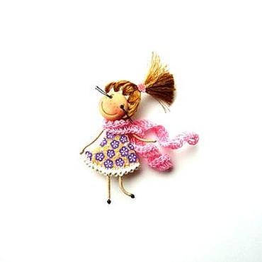 """Украшения ручной работы. Ярмарка Мастеров - ручная работа брошь девочка """"Платье в цветочек"""". Handmade."""