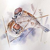 handmade. Livemaster - original item Watercolor painting Sparrows (grey beige birds). Handmade.