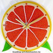 """Для дома и интерьера ручной работы. Ярмарка Мастеров - ручная работа """"Апельсин"""" (фьюзинг), часы настенные. Handmade."""