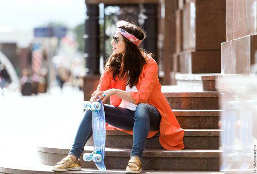 Блузки ручной работы. Ярмарка Мастеров - ручная работа. Купить Рубашка-платье оранжевая. Handmade. Рыжий, 100% хлопок