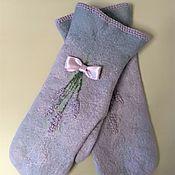 Аксессуары handmade. Livemaster - original item Mittens: felted Corsage of lavender. Handmade.
