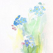 Картины и панно handmade. Livemaster - original item Picture forget-me-nots watercolor 10х15 cm. Handmade.