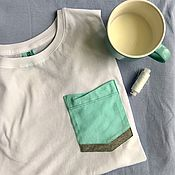 Одежда handmade. Livemaster - original item Loose white cotton t-shirt with stylish pocket. Handmade.
