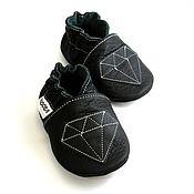 Работы для детей, handmade. Livemaster - original item Diamond Baby Shoes, Ebooba, Black Baby Moccasins,Soft Sole Baby Shooes. Handmade.