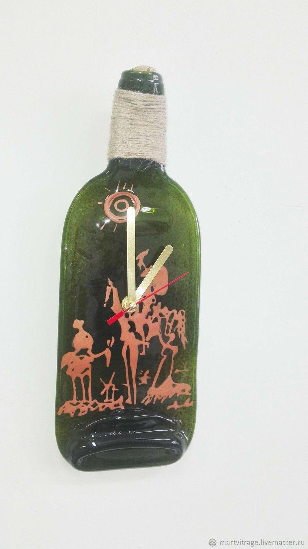 """Часы из бутылки """"Дон Кихот"""". Стекло.Бутылка. Фьюзинг, Часы классические, Москва,  Фото №1"""