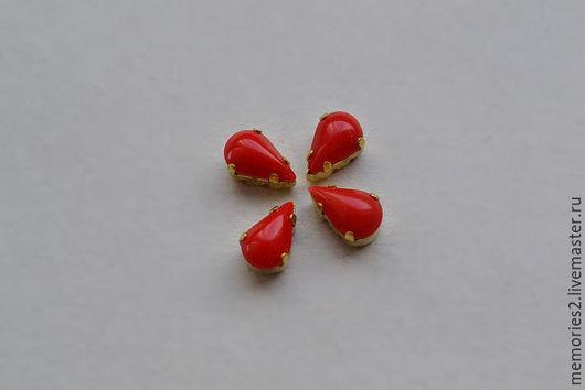 Для украшений ручной работы. Ярмарка Мастеров - ручная работа. Купить Винтажные стразы 8х5 мм цвет Cherry. Handmade.