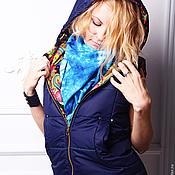 Vests handmade. Livemaster - original item Women Vest Russian Style Dark Blue with hood. Handmade.