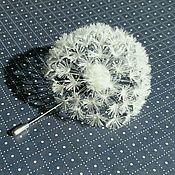 Украшения handmade. Livemaster - original item Brooch Boutonniere Dandelion white silk and leather. Handmade.