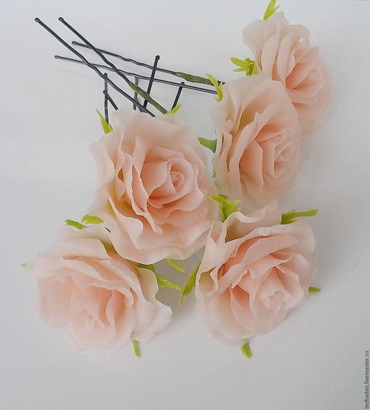 Шпильки с цветами,Шпильки с розами,Шпильки для невесты,Шпильки с цветами из полимерной глины.