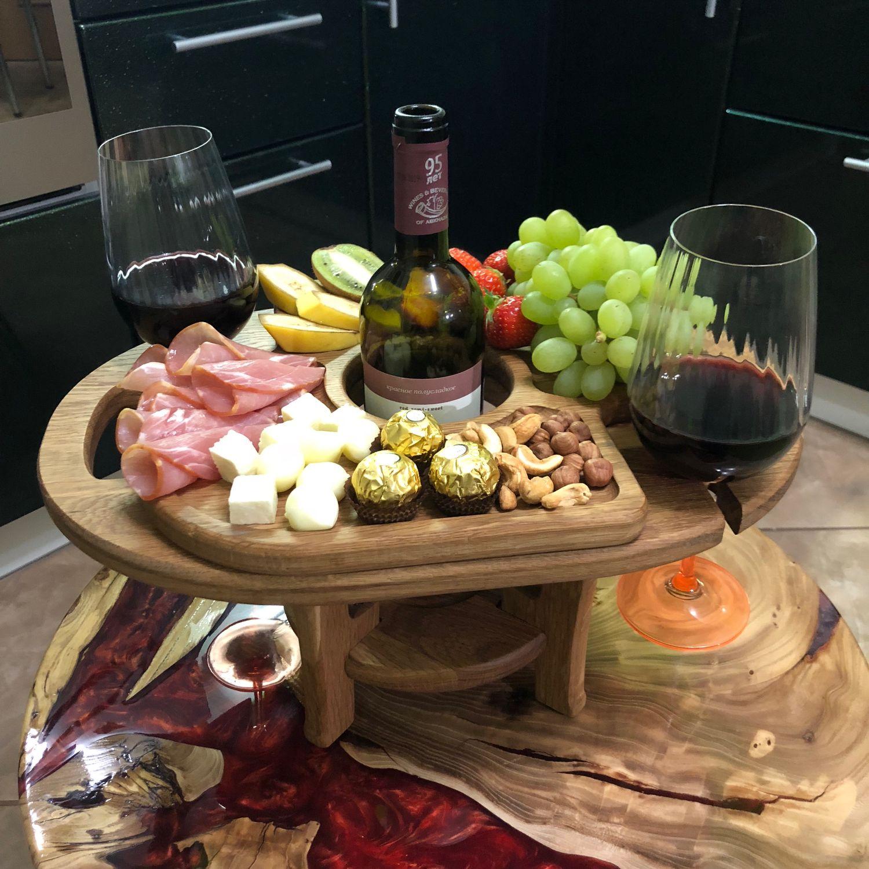 Винный столик, доска для подачи, подарок из дерева, Подставки, Краснодар,  Фото №1