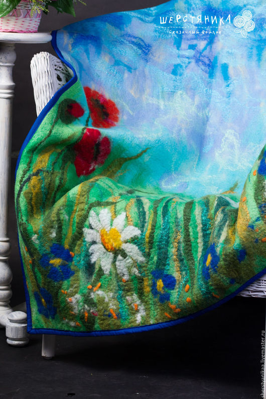 Текстиль, ковры ручной работы. Ярмарка Мастеров - ручная работа. Купить Детское одеяло из войлока. Handmade. Зеленый, летний луг