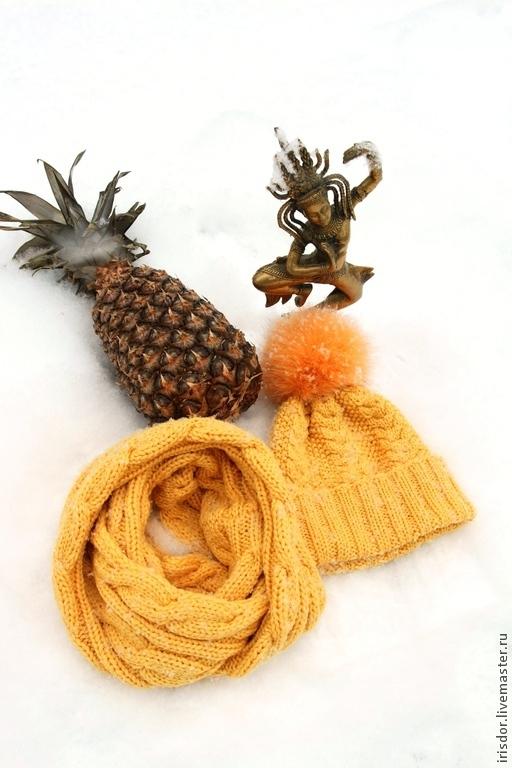 Комплекты аксессуаров, комплект аксессуаров, комплект шапка и снуд, шапка с помпоном, ручная работа, Iris D`or, irisdorknit