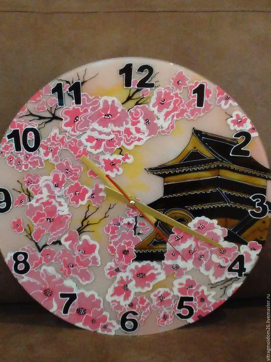 Часы для дома ручной работы. Ярмарка Мастеров - ручная работа. Купить часы настенные Сакура в цвету 2. Handmade.