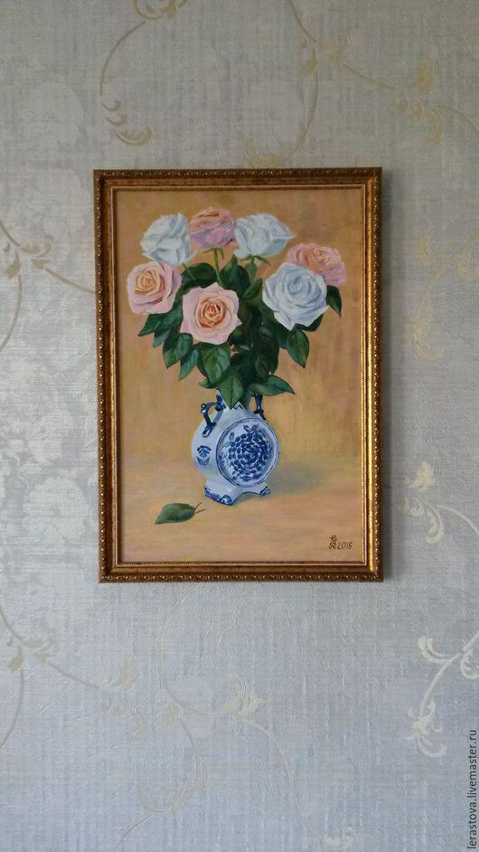 Картины цветов ручной работы. Ярмарка Мастеров - ручная работа. Купить натюрморт с розами. Handmade. Розовый, холст на подрамнике