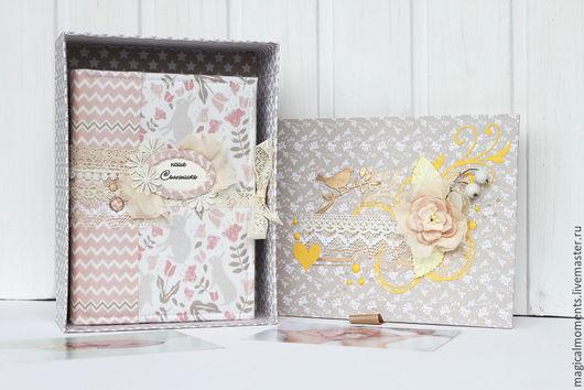 Блокноты ручной работы. Ярмарка Мастеров - ручная работа. Купить Беби бук в коробке (Мамин дневник). Handmade. Бледно-розовый