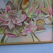 """Картины и панно ручной работы. Ярмарка Мастеров - ручная работа Батик картина """"Розовый закат над озером"""". Handmade."""