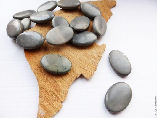 Для украшений ручной работы. Ярмарка Мастеров - ручная работа. Купить Бусина овальная Серая Яшма (Чохуа). Handmade. Серый