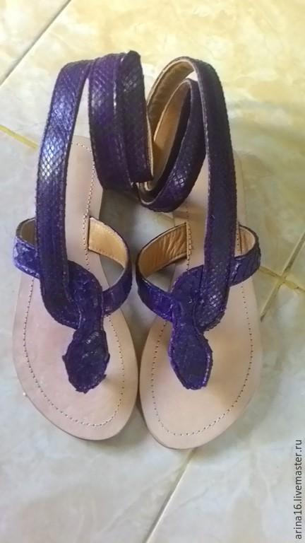 Обувь ручной работы. Ярмарка Мастеров - ручная работа. Купить Сандалии змейки. Handmade. Тёмно-фиолетовый, сандалии через палец