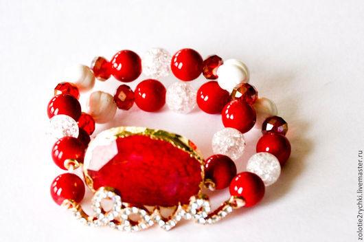 """Браслеты ручной работы. Ярмарка Мастеров - ручная работа. Купить браслеты """"Любовь и страсть"""". Handmade. Ярко-красный, браслеты из камней"""