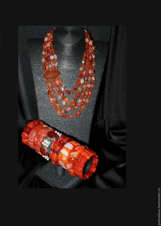 Комплекты украшений ручной работы. Ярмарка Мастеров - ручная работа. Купить Природный сердолик. Комплект браслет и колье из натуральных камней. Handmade.