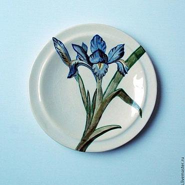 """Посуда ручной работы. Ярмарка Мастеров - ручная работа """"Синие Ирисы"""" комплект блюдец фаянс. Handmade."""