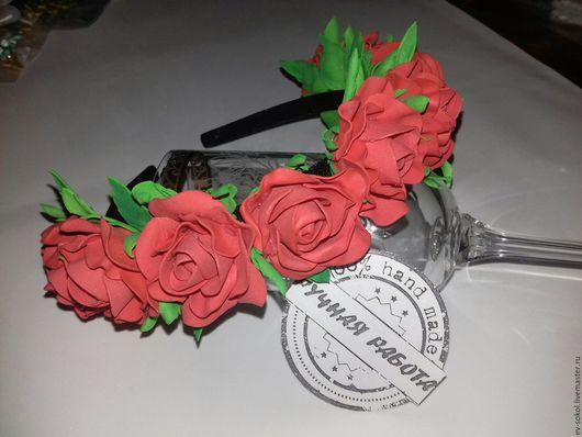 Повязки ручной работы. Ярмарка Мастеров - ручная работа. Купить Ободок из мелких алых роз. Handmade. Ободок для волос