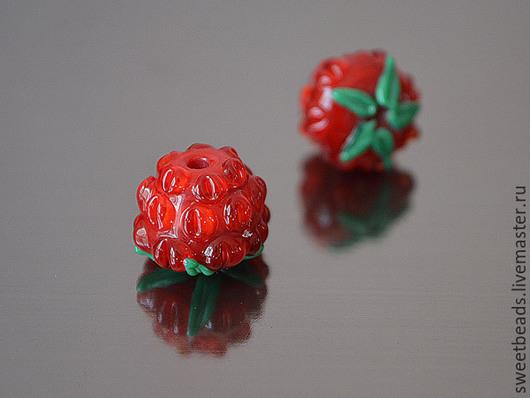 Для украшений ручной работы. Ярмарка Мастеров - ручная работа. Купить Бусина Ежевика лампворк лэмпворк, красная. Handmade.