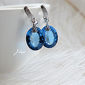 Earrings handmade. Livemaster - original item Earrings with blue Topaz. Handmade.