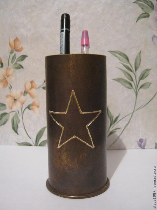 """Подарки для мужчин, ручной работы. Ярмарка Мастеров - ручная работа. Купить Карандашница """"Звезда"""" из гильзы 45 мм. Handmade. Коричневый"""