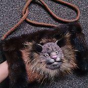 Аксессуары ручной работы. Ярмарка Мастеров - ручная работа муфта для ручек с диким котом и мехом норки. Handmade.