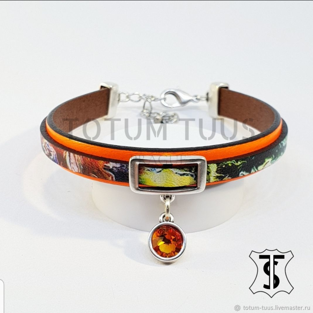 Designer leather bracelet ...for Her Art:18000183, Bead bracelet, Prague,  Фото №1
