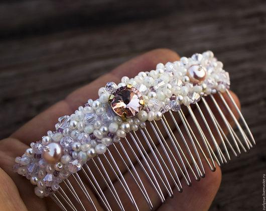 Диадемы, обручи ручной работы. Ярмарка Мастеров - ручная работа. Купить Диадема гребень заколка с натуральным жемчугом и кристаллами свадебная. Handmade.