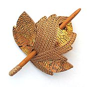 Украшения handmade. Livemaster - original item Barrette Golden Leaf (Golden, brooch, hair pin shawl). Handmade.