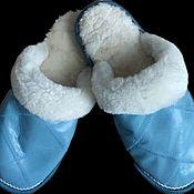 Обувь ручной работы handmade. Livemaster - original item Leather sheepskin Slippers. blue. Handmade.