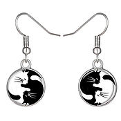 Украшения handmade. Livemaster - original item Earrings with cabochon Cat`s Yin-Yang of 18 mm, art. C0301. Handmade.
