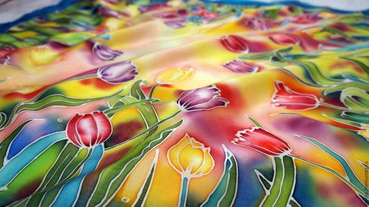 """Шали, палантины ручной работы. Ярмарка Мастеров - ручная работа. Купить Батик. Платок """"Моя весна"""". Handmade. Комбинированный"""