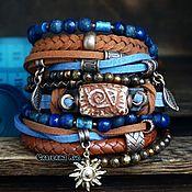 Украшения handmade. Livemaster - original item BOHO bracelet with lapis lazuli and bronzite