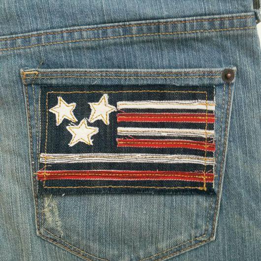 Одежда унисекс ручной работы. Ярмарка Мастеров - ручная работа. Купить Флаг аппликация джинсовая 1. Handmade. Заплатки, нашивка