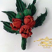 Украшения handmade. Livemaster - original item Brooch flower leather flower pin leather Red bells. Handmade.