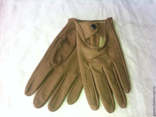 Варежки, митенки, перчатки ручной работы. Ярмарка Мастеров - ручная работа. Купить Перчатки мужские кожаные автомобильные. Handmade. Оливковый