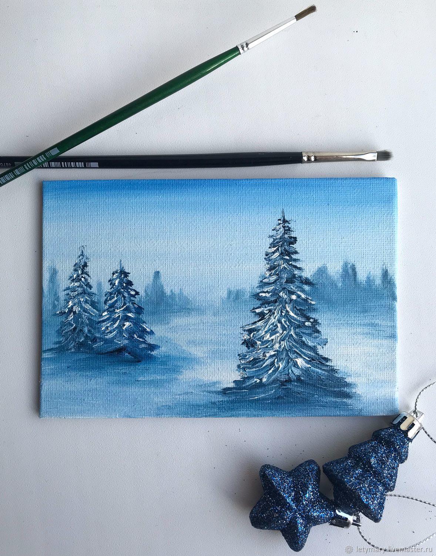 Painting miniature-postcard oil ' Winter blue', Cards, Novosibirsk,  Фото №1