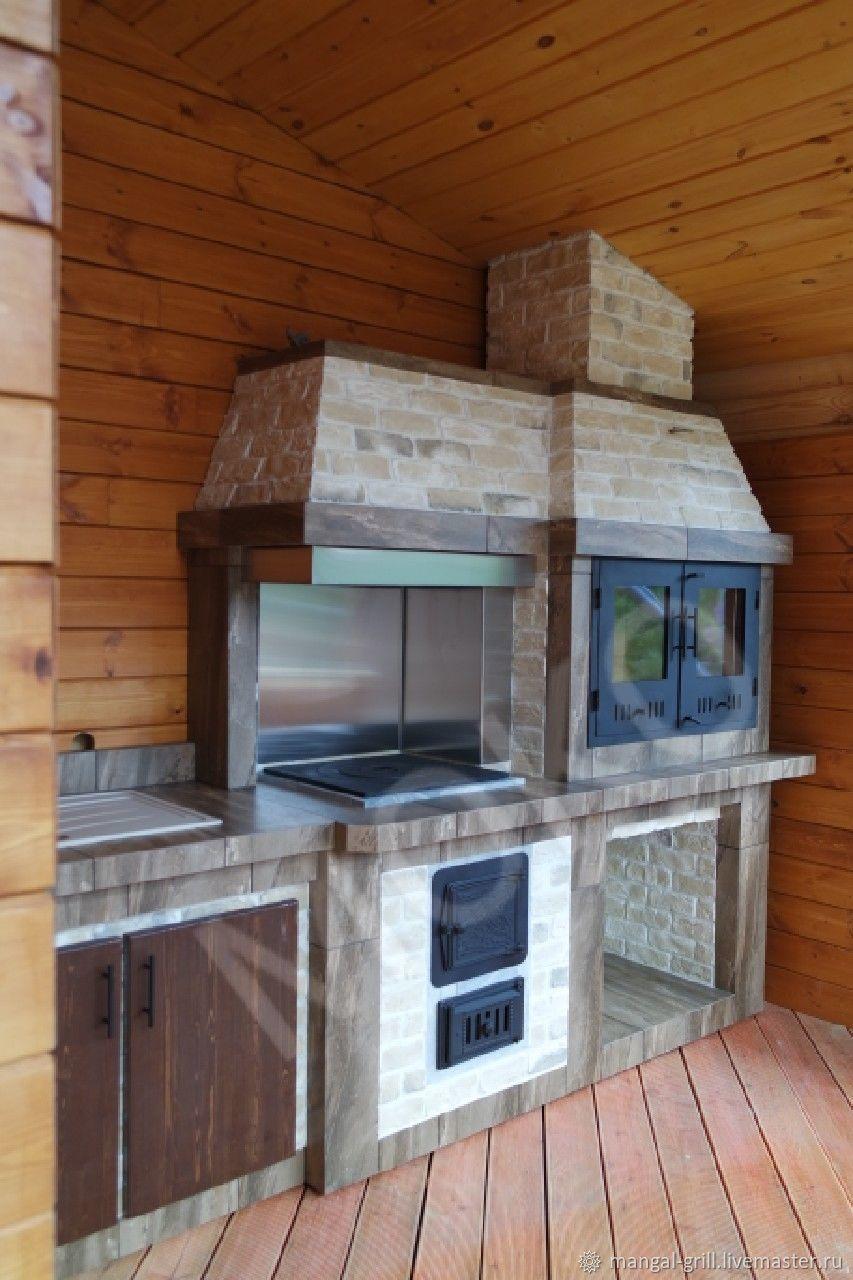 Экстерьер и дача ручной работы. Ярмарка Мастеров - ручная работа. Купить Барбекю комплекс для деревянной веранды на свайном фундаменте. Handmade.