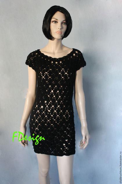 Платья ручной работы. Вязаное Маленькое черное платье. Шали вязаные, свитера  FDesign. Интернет-магазин Ярмарка Мастеров.