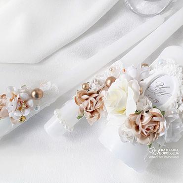 Свадебный салон ручной работы. Ярмарка Мастеров - ручная работа Свадебные свечи семейный очаг золотистые. Handmade.