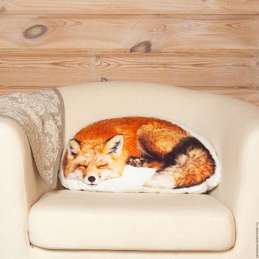 Текстиль, ковры ручной работы. Ярмарка Мастеров - ручная работа. Купить Подушка Лиса – льняная декоративная подушка в  форме лисы. Handmade.